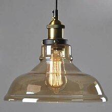 BAYCHEER Amberfarbene Glas-Hängeleuchte Lampenschirm Industrielampe Glaslampe Deckenleuchte Kronleuchter Pendelleuchte