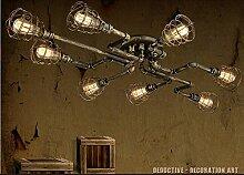 BAYCHEER Deckleuchte Industrielampe 6 Lampenfassung 65cm Retro Kupfer Semi Flush Deckenlampe Kronleuchte Pendellampe (8 Lampen)