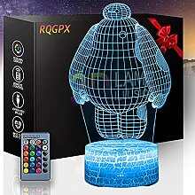 Baymax 3D-Illusionslampe, Nachtlicht, 16 Farben,