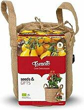 Baza - Minigarten im Anzuchtbeutel - Pflanze: Gelbe Tomate - Jutesack mit Erde & Samen