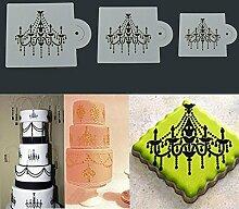 Bazaar 3pcs Chandelier Spitze Hochzeits Kuchen Plätzchen Backen Stencil Fondant, der Werkzeuge