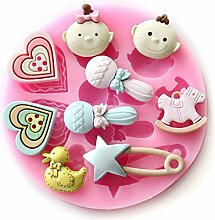 Bazaar Baby Silikon Ente Kuchen Fondant Herz Backform Kuchenform Seife, Schokolade F0489
