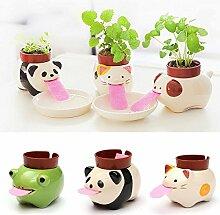 Bazaar DIY Mini Keramik Tier Tougue auto-riego in Topf der Pflanze Home Office Desktop Decor