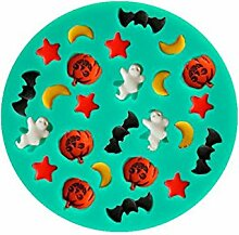 Bazaar Halloween Monde Sterne Pumpkins Ghosts Bats Silikon Fondant Kuchen Formen Schokoladen Form Backen Werkzeuge