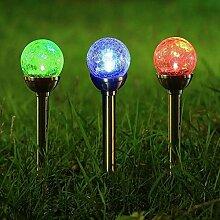 Bazaar Solarbetriebene RGB Crackle Glaskugel Spike