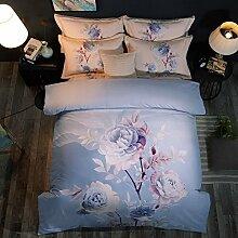BB.er Baumwolle drucken National Wind schleifen Betten 4 Doppelbett Heimtextilien, Eis, Schnee, blau, 200 * 230 cm