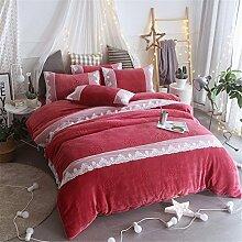 BB.er Bettwäsche Flanell Herbst und Winter warm verdicken reine Farbe einfachen Stil luxuriöse Heimtextilien Bettwäsche Sammlung, dunkel rötlich-lila, 200 * 230cm