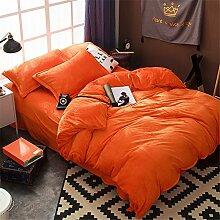 BB.er Flanell Bettwäsche Sets von Herbst und Winter warm plus samtweich atmungsaktiv Heimtextilien Bettwäsche Kollektion, Orange, 1,5 m