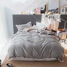 BB.er Gewaschene Baumwollefarbig Bettwäsche Set Frühling und Sommer Kleine Frische Serie Heimtextilien Set, grau, 200 * 230cm