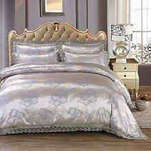 BB.er Tencel Bettwäsche Set überlegene Qualität Baumwolle romantische Spitze Serie europäischen Gericht Wind Heimtextilien Anzug, Silber B, 200x230cm