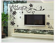 BB.er TV-Kulisse Dekoration Vintage Wohnzimmer Schlafzimmer Hintergrund pvc-Aufkleber entfernen, 150 * 76 cm