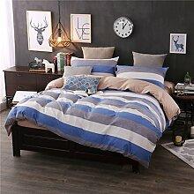 BB.er Twill Baumwolle Bettwäsche set von 4 Doppelbett plaid Streifen Heimtextilien, blau/grau, 220 x 240 cm