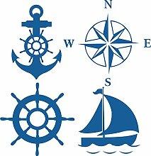 BB.er Wall Sticker Marine cruise Werkzeuge grüne Abnehmbare dekorative Sticker geschnitzt, blau