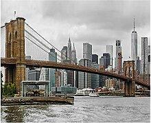Bbaodan Fototapete Vintage Brooklyn Brücke Tapete