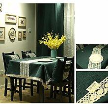 Bbdsj Home tischdecke Einfarbige tischdecke Deluxe tischdecke Stoff baumwolle leinen Lace nähen Tee tischdecke Grüne tischdecke-grün 140x140cm(55x55inch)