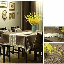 Bbdsj Home tischdecke Einfarbige tischdecke Deluxe tischdecke Stoff baumwolle leinen Lace nähen Tee tischdecke Kaffee-tischdecke-braun 100x140cm(39x55inch)