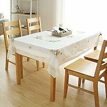Bbdsj Home tischdecke Frisch und komfortabel Lace nähen Stoff baumwolle leinen White Farbe blume Teetisch Quadrat Längliche tischdecke Verschiedene stile -A 130x130cm(51x51inch)