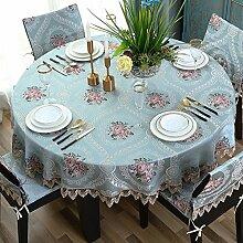 Bbdsj Runde tischdecke,Runde tischdecke,Europäischer stil Deluxe tischtuch Gestickt Lace nähen Blaue runde tischdecke-Blau diameter120cm(47inch)