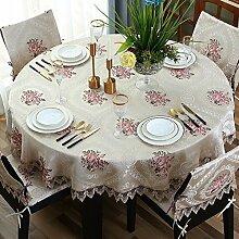 Bbdsj Runde tischdecke,Runde tischdecke,Europäischer stil Deluxe tischtuch Gestickt Lace nähen Beige-runde tischdecke-Beige Durchmesser280cm(110inch)