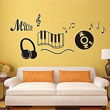 BBH.LEE Tastatur Musik Headset Musik Englisch Aufkleber Wohnzimmer Schlafzimmer Einrichtung Können Die Aufkleber Entfernen, Golden