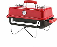 BBQ Grill, Grill, Holzkohlegrill, Edelstahl Grill, Multifunktions-Klappgrill, 56cm * 28cm * 37cm (8.5kg) (Farbe : Rot)