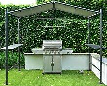 BBQ Grill Pavillon | Dunkelgrau | 265 x 150 cm | SORARA | PVC 610 g/m² | Garten & Outdoor | Partyzel
