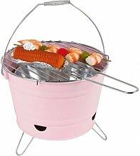 BBQ-Grilleimer Ø27cm Campinggrill Picknickgrill Minigrill Partygrill Balkongrill, Farbe:rosa