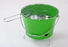 BBQ-Grilleimer Ø27cm Campinggrill Picknickgrill Minigrill Partygrill Balkongrill, Farbe:grün