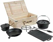 BBQ-Toro 7-teiliges Dutch Oven Set in Holzkiste,