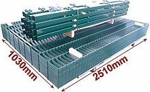 BBT@ / Doppelstab-Mattenzaun Komplett-Set / Grün / 103cm hoch / 12,5m lang / Zaun Zaunanlage Gartenzaun Metallzaun