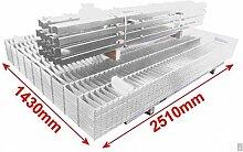 BBT@ / Doppelstab-Mattenzaun Komplett-Set / Verzinkt / 143cm hoch / 12,5m lang / Gartenzaun Metallzaun Zaun Zaunanlage