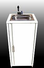 BBT@ / Mobiles Waschbecken im Stahlblech-Schrank Weiß / Sofort einsatzbereit / Inklusive Edelstahl-Spüle, Tauchpumpe, Netzteil, Wasserhahn, Staufach, große Kanister für Frischwasser und Abwasser / Spülbecken Handwaschbecken Waschstation Camping