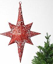 BBYaki Eisen Blinkt Dreidimensionalen Stern Anis Anhänger, Einkaufszentrum / Fenster / Heimtextilien, Weihnachten / Hochzeit Dekoration , Trumpet Red /0.25Kg