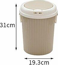 BCY Haushalt Bullet Abdeckung Mülleimer Badezimmer Wohnzimmer Küche Schlafzimmer Kreative Große Kapazität Mülleimer aufbewahrungsbox (Farbe : Beige)