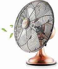 Bcyfan Ventilator | Retro Tischventilator im Kupfer Design | 3 Geschwindigkeitsstufen | 4 Lüfterflügel | Leistungsaufnahme 40W | Durchmesser 34 cm | hoher Luftdurchsatz | Robustes Metallgehäuse | Kupferveredelung