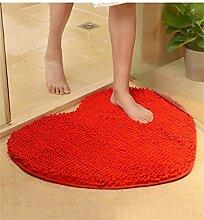 bd jfew Europäische Schlafzimmer Teppich Verschleißfeste Matte Anti-rutsch-absorbierenden Fuß Wolldecke Wohnzimmer Badezimmer Teppich Teppich (Farbe: Rot, Größe: 70 * 80 cm)