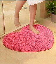 bd jfew Europäische Schlafzimmer Teppich Verschleißfeste Matte Anti-rutsch-absorbierenden Fuß Wolldecke Wohnzimmer Badezimmer Teppich Teppich (Farbe: Rosa, Größe: 50 * 60 cm)
