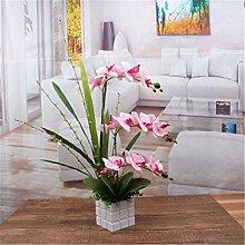 BDDFBA Künstliche Pflanzen Fake Blumen Topfpflanzen Dekoration Pink Orchid Flower Pots