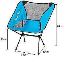 Be&xn Outdoor-klappstuhl, Portable Camping Barbecue Zurück loungesessel Lounge Chair Liegestühle Liegestuhl Ageln Stuhl Hocker-Blau L36xH63cm(14x25inch)