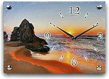 Beach Luxus Designer Wanduhr Funkuhr aus Schiefer *Made in Germany leise ohne ticken WS104FL