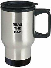 Beach Travel Mug Seas The Day Becher