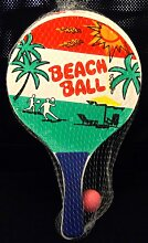 Beachball SET Holz, Strandspiel, 2 Schläger, Ball , Bild 1