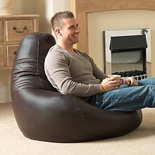 Bean Bag Bazaar® Gaming Sitz Sack Designer Liegesessel BRAUN Lederimitat - Extra Large Sitzsack Sessel