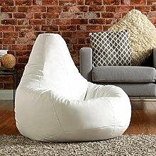 Bean Bag Bazaar® Gaming Sitz Sack Designer Liegesessel Lederimitat - Extra Large Sitzsack Sessel (WEIß)