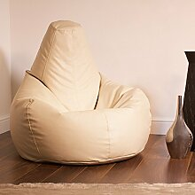 Bean Bag Bazaar® Gaming Sitz Sack Designer Liegesessel Lederimitat - Extra Large Sitzsack Sessel (CREME)