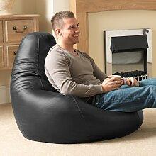 Bean Bag Bazaar® Gaming Sitz Sack Designer Liegesessel SCHWARZ Lederimitat - Extra Large Sitzsack Sessel