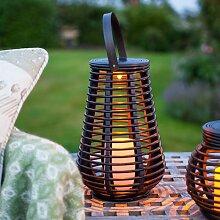 Bearsu - LED Solar Rattan Lampe Gartendeko 25cm