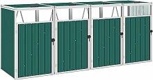 Bearsu - Mülltonnenbox für 4 Mülltonnen Grün