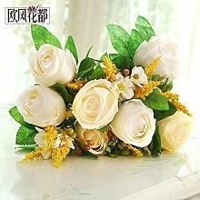 Beata.T Continental Glas Rose Emulation Blumenvasen Tisch verlassen, die florale Dekoration der Blume zeichnen falsche Blumen, Weiß