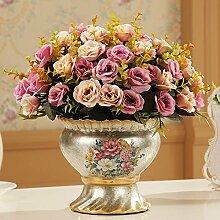 Beata. T CONTINENTAL Retro Künstliche Blumen Vasen Keramik Wohnzimmer Esstisch Kleine Blumentöpfe Ornaments, neuen eleganten Blumen + 6)